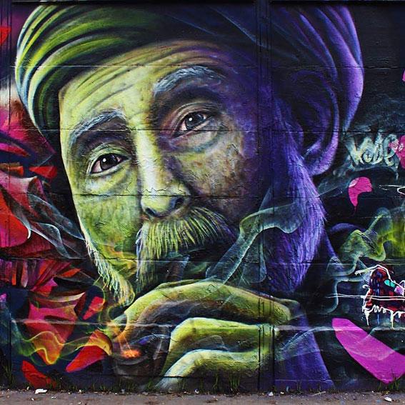 Mural Personaje en encuentro de Graffiti