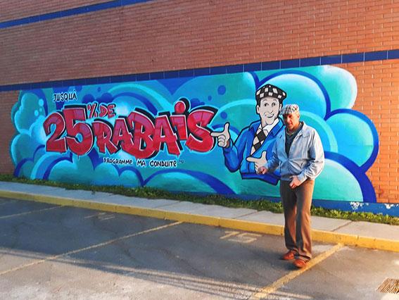Graffiti en sticker gigante para comercial Intact Insurence/Canada